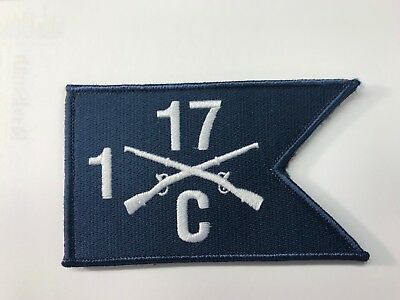 """5"""" X 3"""" Charlie Company, 1st Battalion, 17th Infantry Hook & Loop Guidon Patch"""