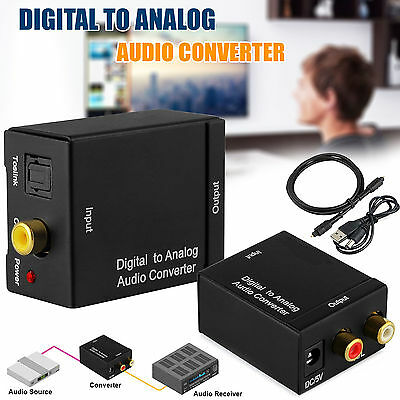Digital Coaxial Toslink to Analog Audio Converter Coax L/R RCA Optical Cable AUX