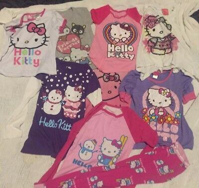20 Piece Lot Girls Hello Kitty Clothing Pjs Swimwear Romper Size S-L