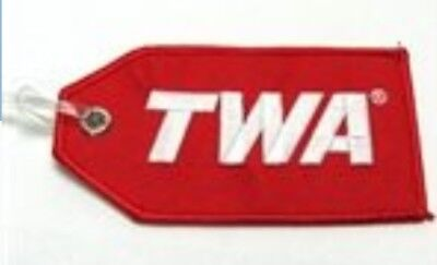 TWA Classic 70s Plush Red logo embroidered licensed luggage ID tag, Trans World