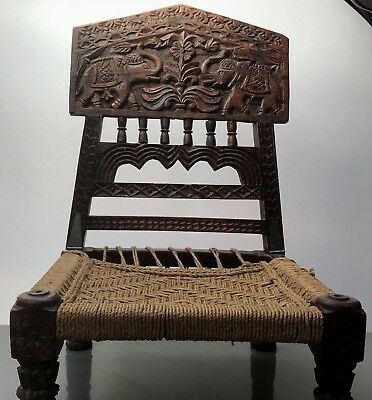 Antique / Vintage Indian Wooden Furniture. Folding Tribal Pidha Chair. Rajasthan