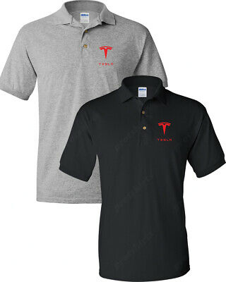 TESLA Men's T-Shirt TESLA MEN'S RED LOGO POLO T-Shirt
