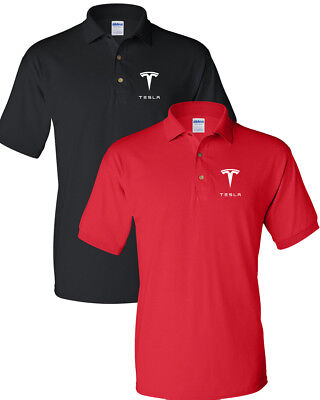 TESLA Men's T-Shirt TESLA MEN'S White LOGO POLO T-Shirt