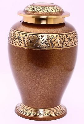 Urn for Ashes, Adult Cremation Funeral Memorial Urn,  Brass Large Urn Brown Gold