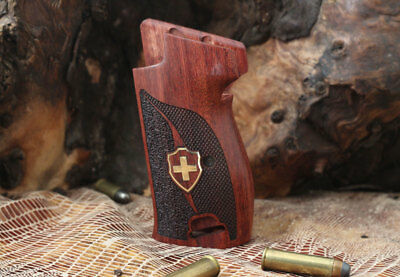 Sig P210 Rosewood Grip with Landyard Ring Brass Swiss Flag