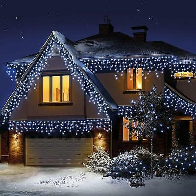 Christmas 720 Led White Snowing Icicle Bright Party Wedding Xmas Outdoor Lights