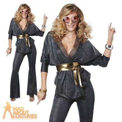 Adult Ladies Disco Dazzler Costume 1970s Diva Fancy Dress Outfit Womens