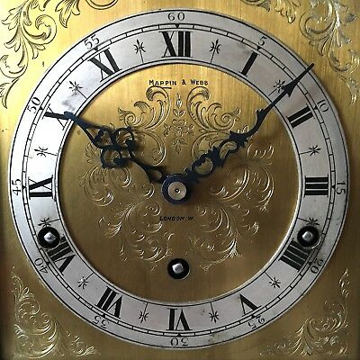Mappin & Webb Walnut Bracket Clock Tempus Fugit Striking Chime Rare