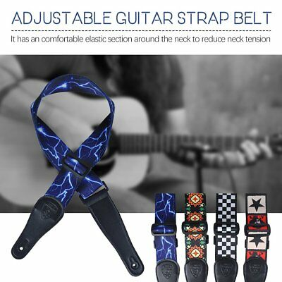 Adjustable Guitar Strap Comfortable 50mm Wide Leather for Bass Electric I7