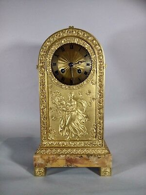 French Gilt Bronze and Sienna Marble 8 Day Movement Mantle Clock
