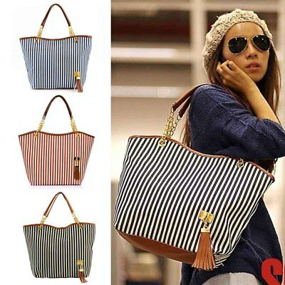 Womens Canvas Stripes Handbags Girls Tote Satchel Beach Shoulder Bags 6PO