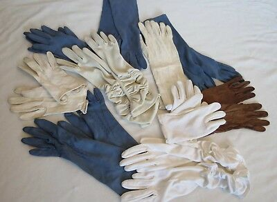 Bulk Lot of Vintage Gloves - Ten Pairs - Nylon and Leather - 1950s, 1960s