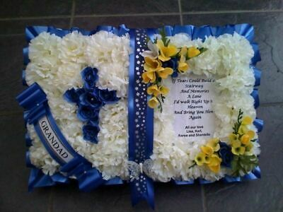 Bible Artificial Silk Funeral Flower Open Book Wreath Floral Memorial Tribute