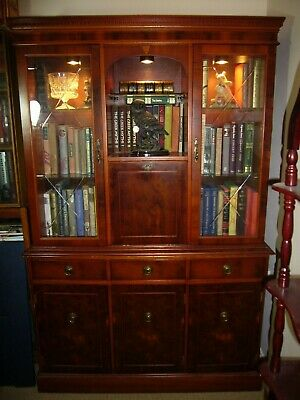 Regency Style Glazed Bookcase - Lit Display Cabinet. Yew Burl with glass shelves