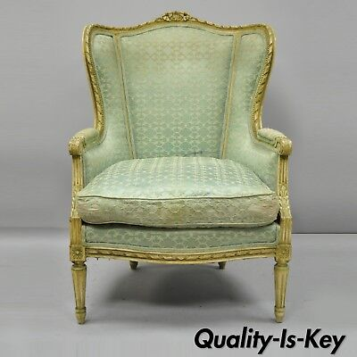 Antique French Louis XVI Distress Painted Cream Bergere Chair Armchair
