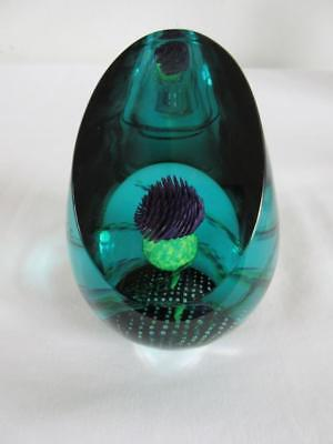 Beautiful Jewel Of The Glen ' Thistle ' Paperweight By Caithness Glass
