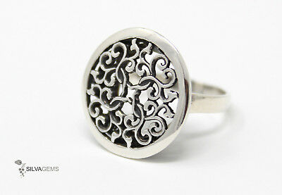 Beautiful Heavy Solid Sterling Silver 925 Round Filigree Ring 'Byzantine' UK