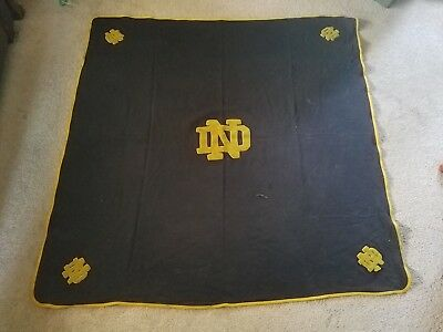 Vintage Notre Dame Fighting Irish Letterman's Patch Wool Blanket 5 Patches!