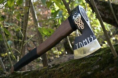Custom Axe Hand Forged Viking Battle Axe Medieval Genuine steel Ax Engraving
