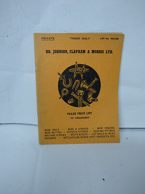 1950S trade catalogue Wire Steel Nails Nuts Johnson Clapham