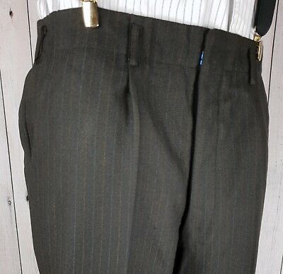 Vintage 40s/50s Button Fly Brown Pinstripe Cuffed Wool Trousers W33 L28 GZ83