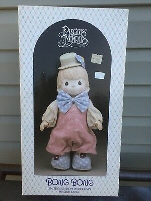 2- Precious Moments  Bong Bong Clown and Candy Porcelain Bisque Doll In Box