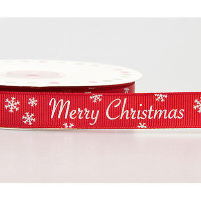 Merry Christmas Snowflake Red & White Grosgrain Ribbon 16mm Craft Wrapping Gift