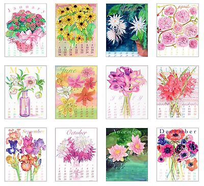 2017 Calendar - Amaryllis Designs by Ling Chang 11 X 14 Bouquet Flowers Refill