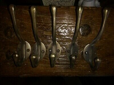Set Of 5 Cast Iron Coat Hooks Plain Victorian Style With Brass finish.
