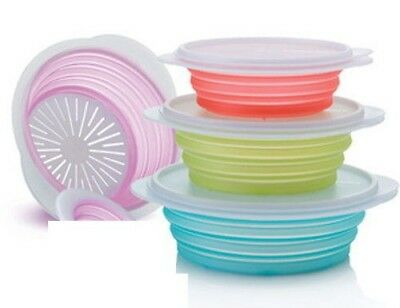 SET BOLES Y COLADOR FLEXIBLE TUPPERWARE. No ocupa espacio, plegables.