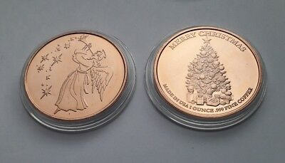 Christmas Tree and Angel 1oz .999 Copper Bullion Round - for hosbis charity