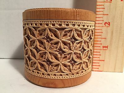 Small Intricate Russian Hand Crafted Siberian Round Birch Wood Trinket Box