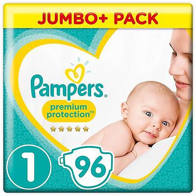 Pampers Premium New Baby Newborn Babies Nappies 2-5 Kg 4-11lbs Pack Of 96 Size 1