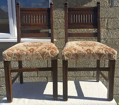 Pair of Vintage, Upholstered Oak Dining Chairs with Carved Back Panel