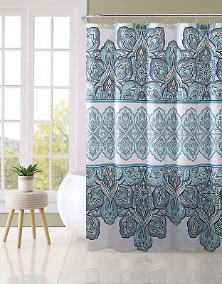 VCNY Home Blue Teal Turquoise White Fabric Shower Curtain Eclectic Floral Geome