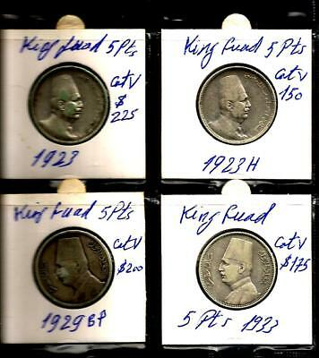 Egypt COINS KING FUAD 5 PIASTRES SILVER FULL SET 4PCS 1923 & 1929 VFINE HIGH CTV