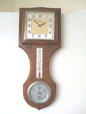 "Garrard Oak Wall Clock Platform Movement & Barometer &Thermometer in  VGC 19""H"