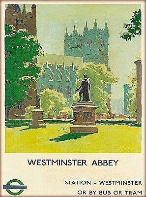 Westminster Abbey England Vintage Great Britain Travel Advertisement Art Poster