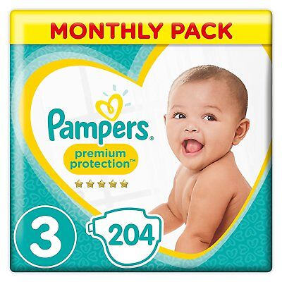 Pampers Premium Protection Baby Diapers Nappies 6-10 Kg 13-22lbs Pack 204 Size 3