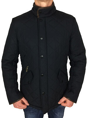 Barbour International Mens Powell Quilted Jacket Navy Blue S, M, L, XL, XXL, 3XL