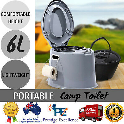 Portable Camping Toilet w/ Seat Removable Bucket Roll Holder Brush Adult Size 6L
