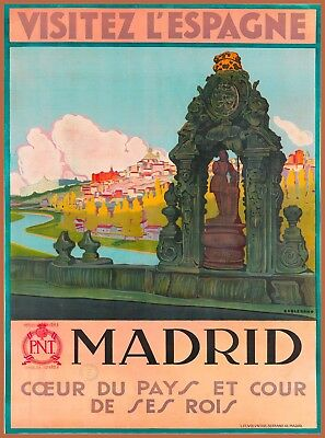 Visitez L' Espagne Madrid Spain Vintage Travel Advertisement Art Poster Print