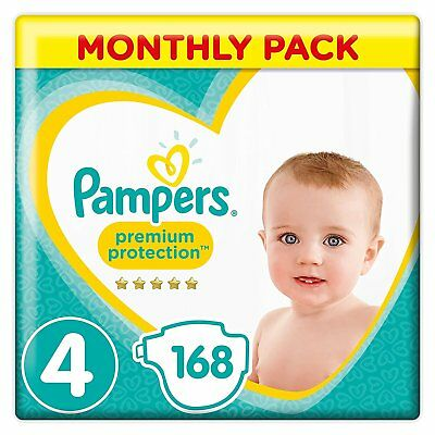 Pampers Premium Protection Baby Diapers Nappies 9-14 Kg 19-30lbs Pack 168 Size 4