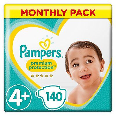 Pampers Premium Protection Baby Diapers Nappies 10-15Kg Pack Of 140 Size 4+ Plus