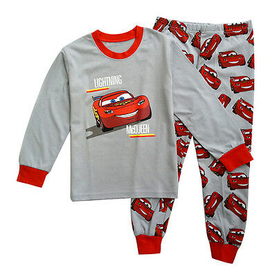 Kids Baby Boys Cars Lightning McQueen Cartoon Pajamas Set Long Sleeve Tops+Pants