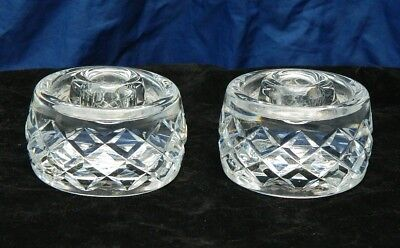 Waterford Cut Crystal Round Candlesticks Candle Holders Giftware Pair