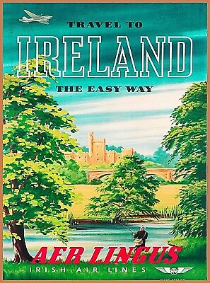 Travel to  Ireland the Easy Way Vintage Travel Advertisement Art Poster Print