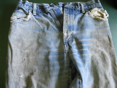 """REAL!! Old Used Heavily worn Faded Stained Tattered Wrangler Jeans size 32""""x32"""""""