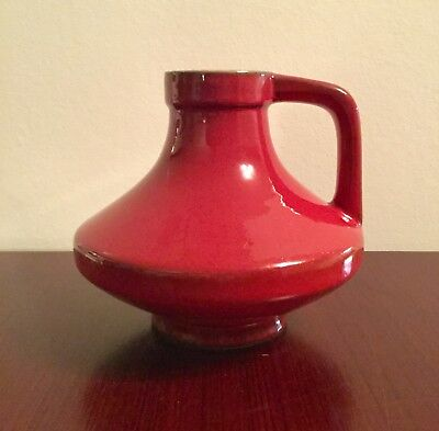 West German Pottery Henkelvase Vase Jopeko Form 47 15 red rot midcentury design