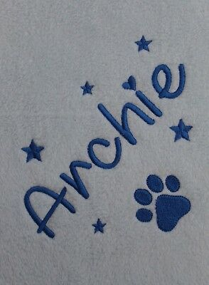 Personalised Dog / Puppy Blanket - Soft & Cosy Fleece - Embroidered  Paw / Stars